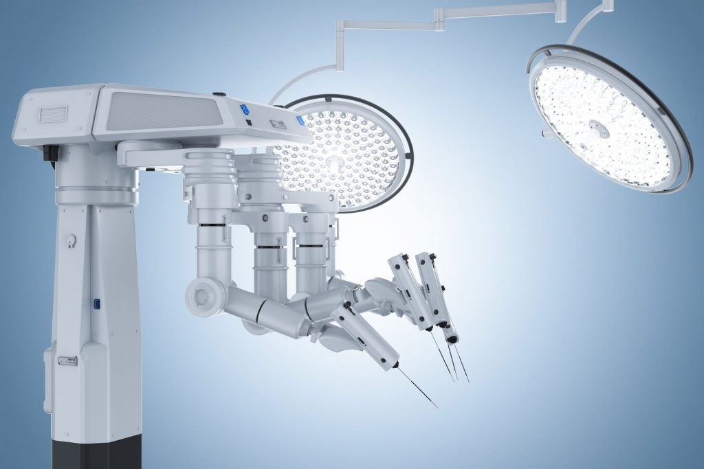 robot surgery machine with surgery lights